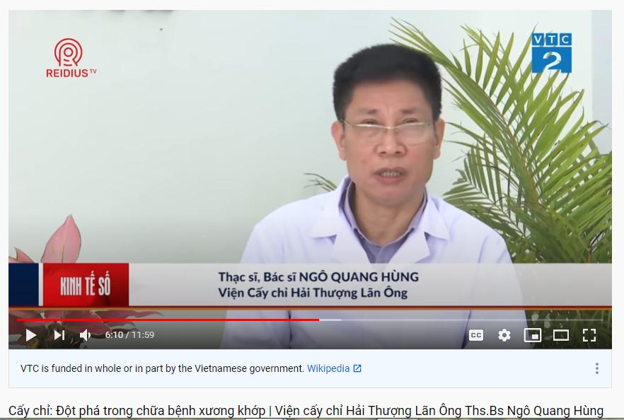vtc2| Ths. Bs Ngô Quang Hùng – Người tạo bước đột phá mới trong điều trị bệnh xương khớp, thoái hóa, thoát vị bằng phương pháp cấy chỉ độc đáo